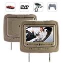 9 Inch Headrest DVD Player + Gaming System + FM Transmitter (Tan Pair)