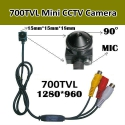 8.0M пикселей, 700TVL HD мини камера,PAL/NTSC,5-12V,microphone,3.7 mm 90 градусов
