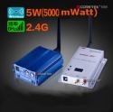 Комплект видеопередатчик/приемник на 2,4 Ггц, мощностью 5000 mWatt  для  передачи на расстояние  до 2300 метров