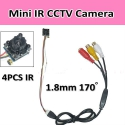 Mini IR CCTV камера, 600TVL,4pcs 940nm IR,Wide-angle,Size 18*18*8mm,0.5LUX, 5-12V