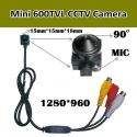 5.0M пикселей мини CCTV камера, 1280*960,600TVL PAL/NTSC,9-12V,microphone,3.7 mm 90 градусов